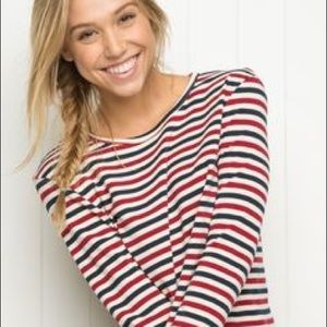 Red, white, and blue striped brandy Melville top